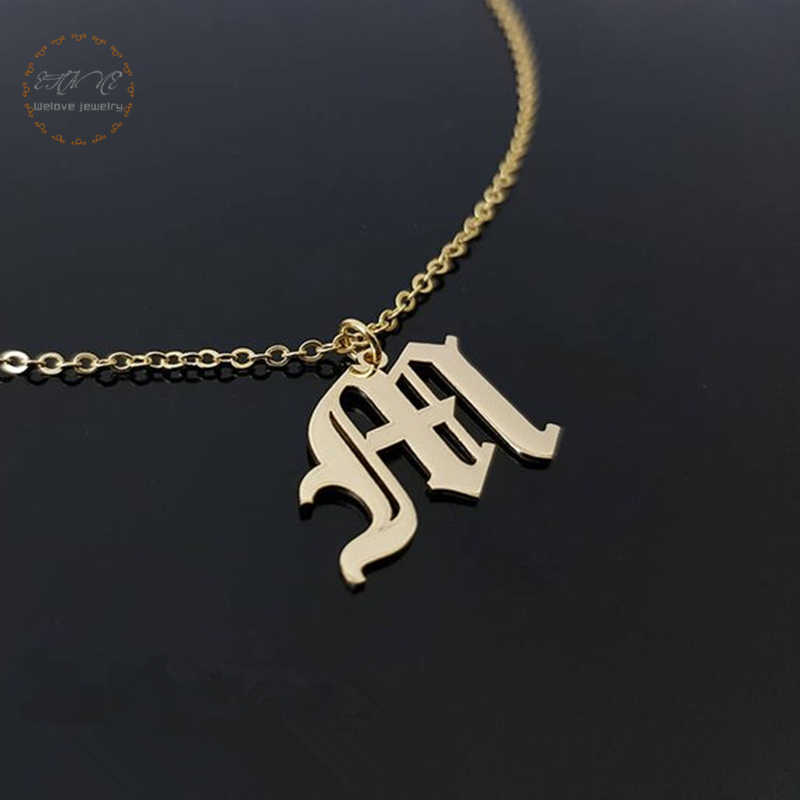 Custom Single Old English Initial Pendant Necklace For Women Personalized Letter Charm Name Gothic Jewelry Rose Gold Color