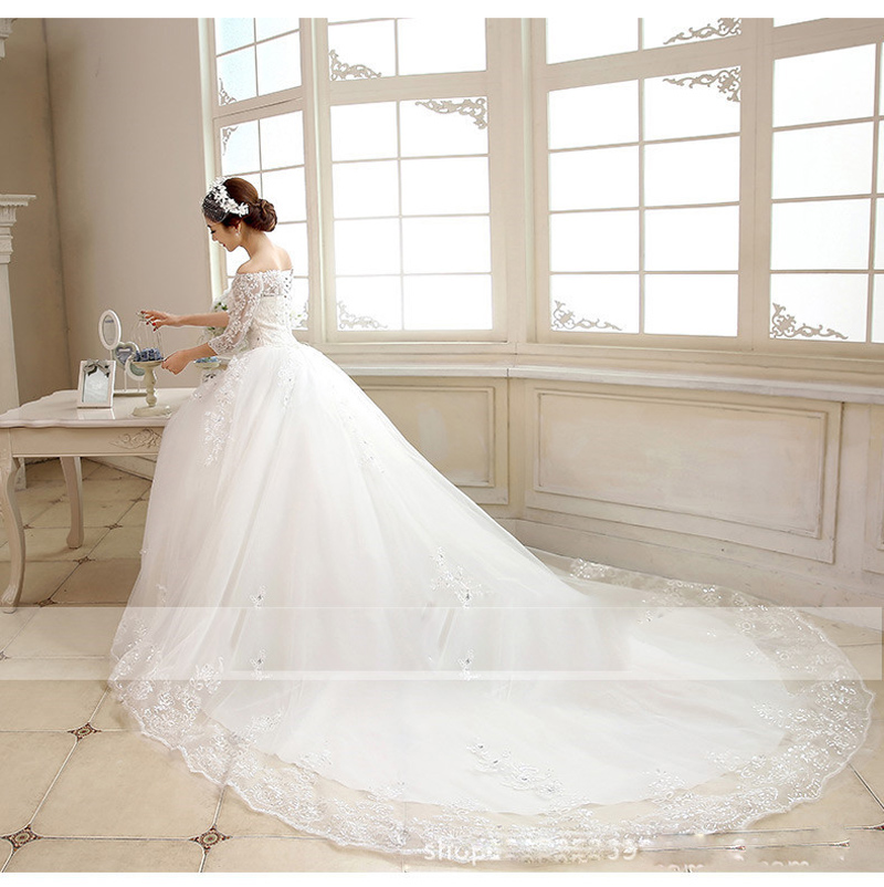 Image 5 - Luxury 2018 New Winter Sexy Boat Neck Half Sleeve Wedding Dress 80cm Tail Prinecess Wedding Gown Vestido De Noiva Tull Sequined-in Wedding Dresses from Weddings & Events