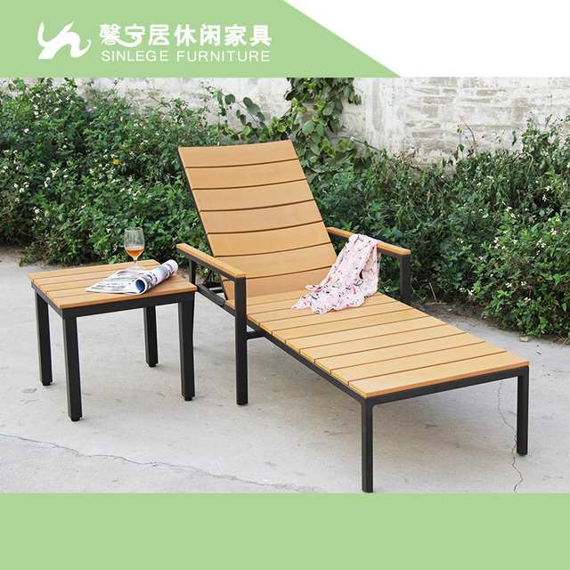 Green Wood Outdoor Chaise Lounge Chairs Garden Pool Loungers