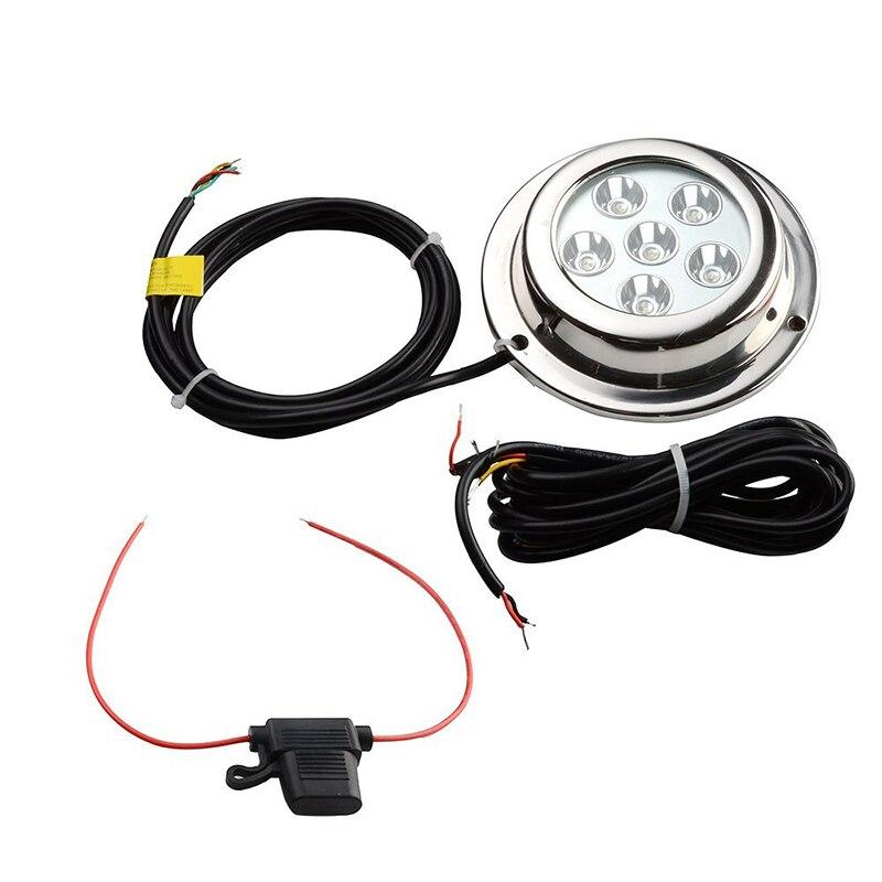 6*3W Stainless Steel Marine Light IP68 Waterproof LED Underwater Light for Boat Yacht Fishing Squid