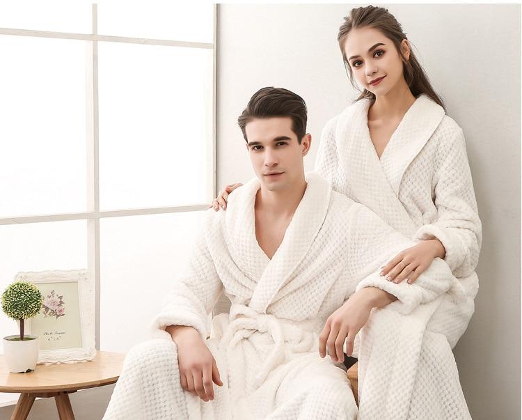 Winter Male Femlae Bathrobe Flannel Thick Robe Long Sleeve Soft Warm Bathrobe Men Women Home Wear Gown Robes Dressing Gown     55