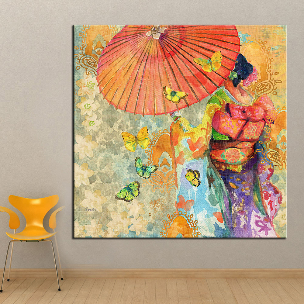 Us 6 11 49 Off Qkart Wall Art Japanese Kimono Oil Painting On Canvas Wall Picture For Living Room Wall Art Posters And Prints Framless In Painting
