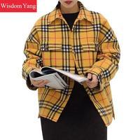 Осень овечья шерсть рубашка пальто женские с длинным рукавом желтый плед 2018 повседневное свободные Oversize шерстяная верхняя одежда дамы паль