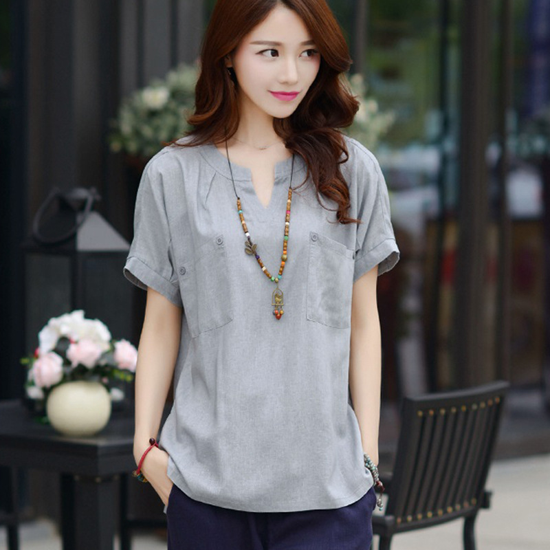 2017 New Women Casual Basic Summer Cotton Linen Blouse pocket short sleeves loose Top Shirt V-neck blusas fashion Plus Size