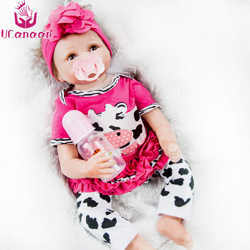 UCanaan Reborn baby doll Eyes open newborn For Child Bedtime Early Education cute realistic soft fashion 22 inches doll pp bedtime for baby dwf acct