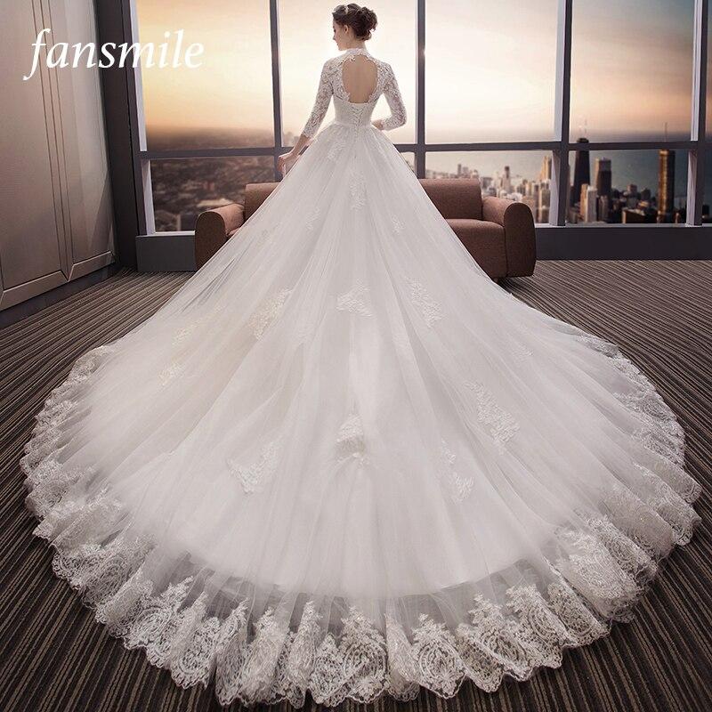 Fansmile Long Train Backless Vestido De Noiva Lace Wedding Dress 2019 Customized Plus Size Wedding Gowns