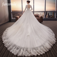 Fansmile длинным шлейфом спинки Vestido De Noiva кружева свадебное платье 2019 под заказ плюс размер Свадебный платья платье FSM 479T