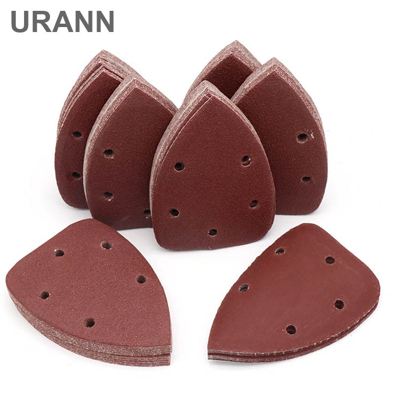 URANN 10pcs Self-adhesive Sandpaper Triangle Sander Sand Paper Hook Loop Sandpaper Disc Abrasive Tools For Polishing Grit 40-400