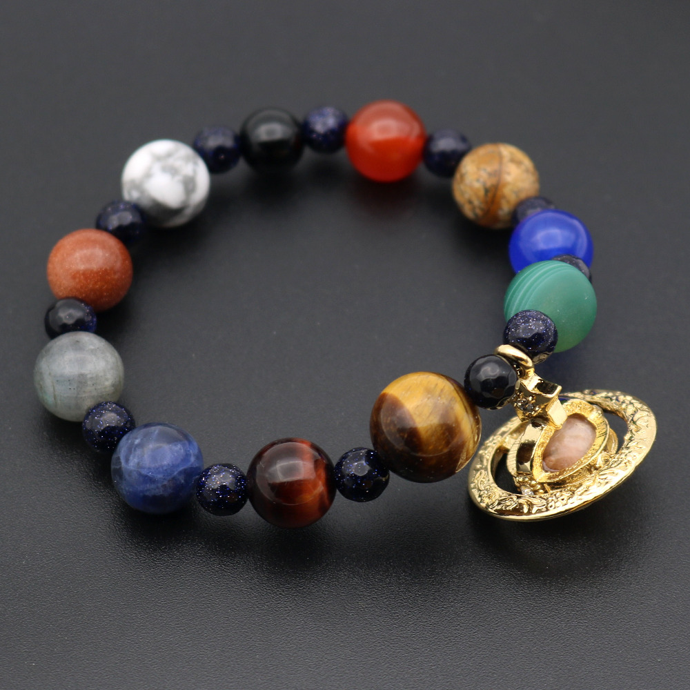 Galaxy Universe Space Bracelet Nebula Cosmic 9 Planets Solar System Saturn Pluto Earth M ...
