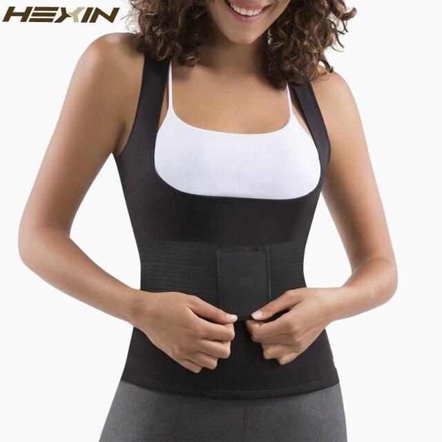 cc9e08ef3b HEXIN Neoprene Sweat Sauna Suit Waist Trainer Slimming Vest Weight Loss  Shirt Body Shaper Adjustable Waist Trimmer Belt