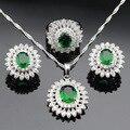 Conjuntos de Jóias Para As Mulheres de Cor prata Criado Verde Esmeralda Branco CZ Colar Pingente Anel Brincos Presente de Natal Caixa Livre