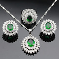 Silver Color Jewelry Sets For Women Green Created Emerald White CZ Necklace Pendant Ring Earrings Christmas Gift Free Box