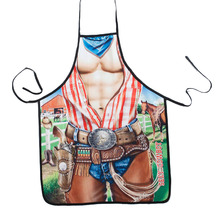 Free Shipping Hotsale Novelty Cooking Kitchen Cool Cowboy Print Sexy Apron Baking Present Pinafore Chef Funny funny apron