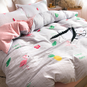 Pink FlamingoTropical Plants Leaves Duvet BeddingTwin Queen King Size INS Style Pink Flamingo Pineapple watermelon Striped Sheet