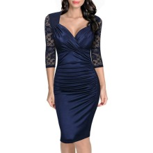 Women Autumn Dress Fashion Elegant Vintage Rockabilly Lace Sleeve V Neck Ruched Casual Party Bodycon Pencil Sheath Dress