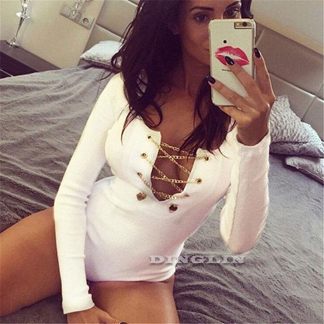 Bodysuits Plunge V Neckline Lace Up Tie Front Stretch