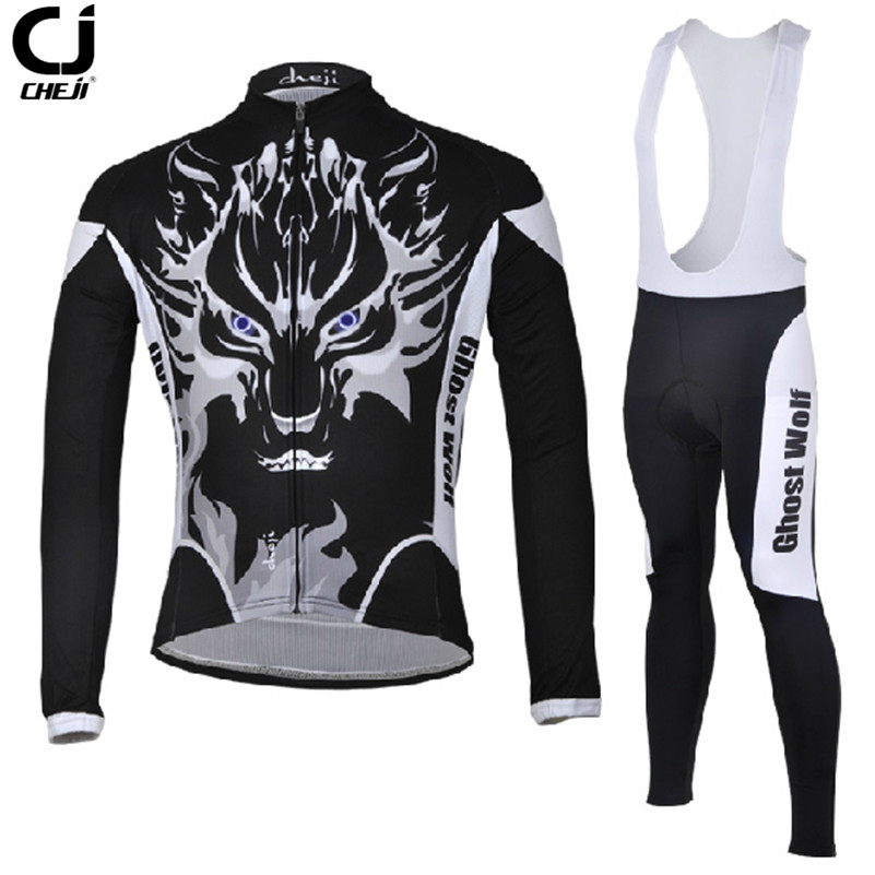 CHEJI Mountain Cycling Shirt Bike Spring Ghost Wolf Sportswear Bicycle MTB Breathable Clothing Set Long Sleeve Cycling Shirt наушники apple beats solo2 on ear headphones синий mhbj2ze a