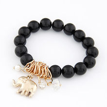 LEMOER Korean Fashion Cool Summer Stretch Black Colorful Beads Elephant Pendant Charm Bracelet Bangles For Women Jewelry 6colors(China)