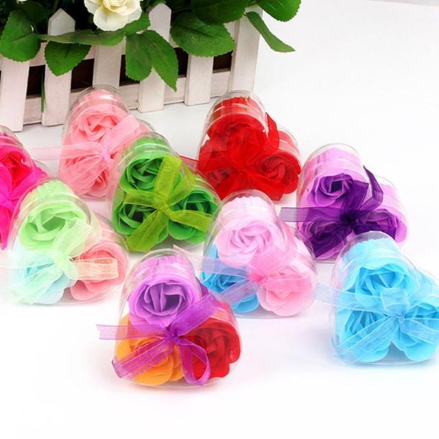 3 Pz Profumato Rosa Petalo Del Fiore Bagno Corpo Sapone Regalo della Festa Nuzia