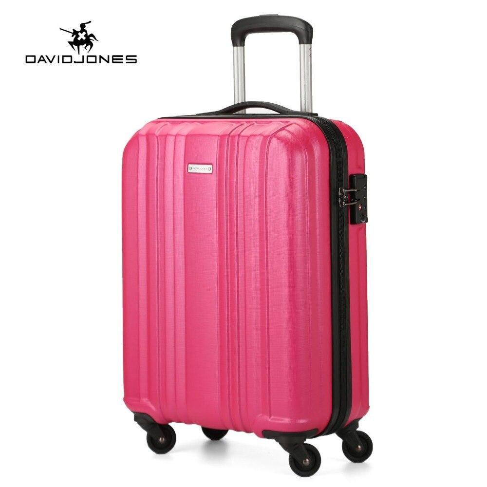 DAVIDJONES roue voyage valise effectuer sur chariot sac spinner cabine grand bagages sac fille vintage valise boîte 20 pouce tronc