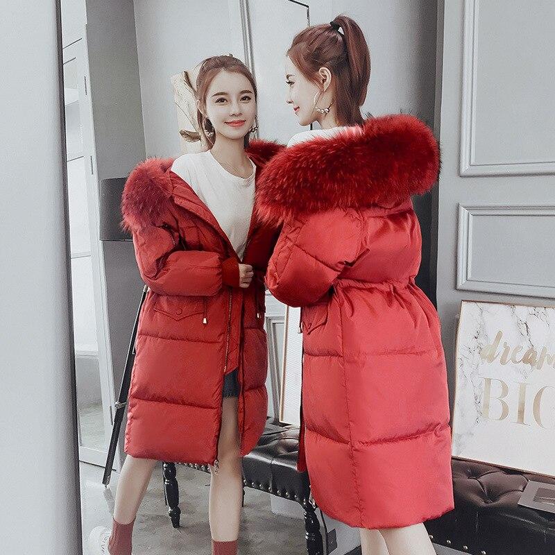 Hiver Manteau Fourrure Long Vers Col 2018 Creamy Coréen Capuchon Lâche gray Le Grand À De Femmes Veste Coton Épais Bas Chaud Femme Parkas Occasionnel rust Red White black dwnPwtXUq