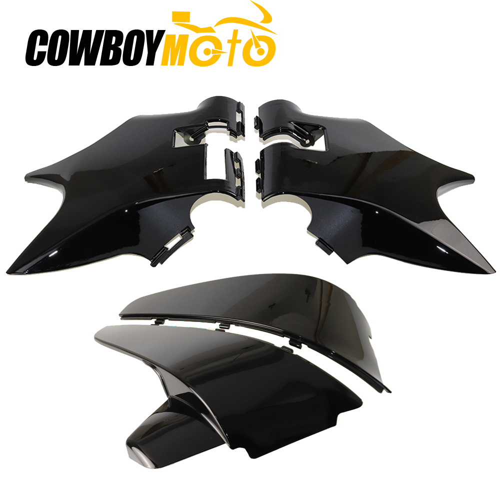 цена на 1Set ABS Chrome Front Cowl Neck Guard & Battery Cover Side Faring Panel Frame For Honda Shadow VT600 VLX 600 STEED400 1988-1998