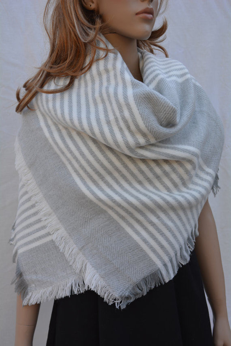 New Oversized Plaid Fringed Grey White Striped font b Tartan b font Blanket Scarf Shawl Hot