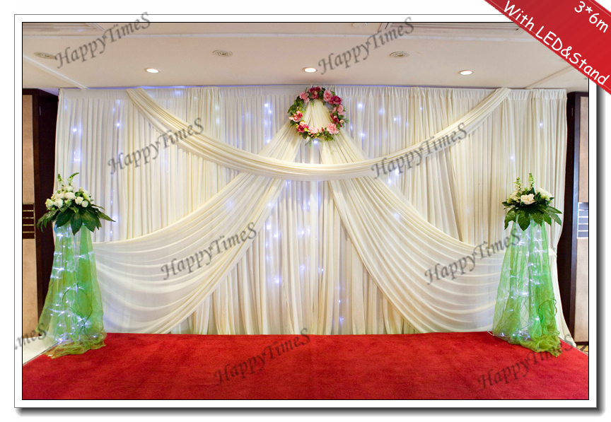 Wedding background decoration curtain backdrop drapes with white led wedding background decoration curtain backdrop drapes with white led light curtain and stainless steel stand in party backdrops from home garden on junglespirit