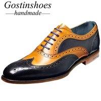 GOSTINSHOES/Мужская обувь ручной работы из натуральной кожи; оксфорды с перфорацией; обувь с острым носком; ручная роспись; SCZ004