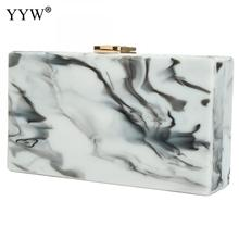 Marble New Acrylic Clutch Bag Box Women Evening Wedding White Ins Print Messenge Ladies Party Handbags Gold Chain