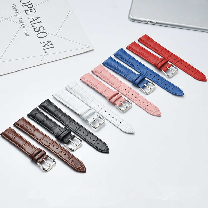 14mm 16mm 18mm 20mm 22mm 24mm Genuine Leather Watchband Watch Belt Strap Wristwatches Band Bracelet Female Pink White Red