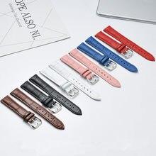 Pulseira de couro genuíno, pulseira de relógio de 14mm 16mm 18mm 20mm 22mm 24mm pulseira feminina rosa branco vermelho