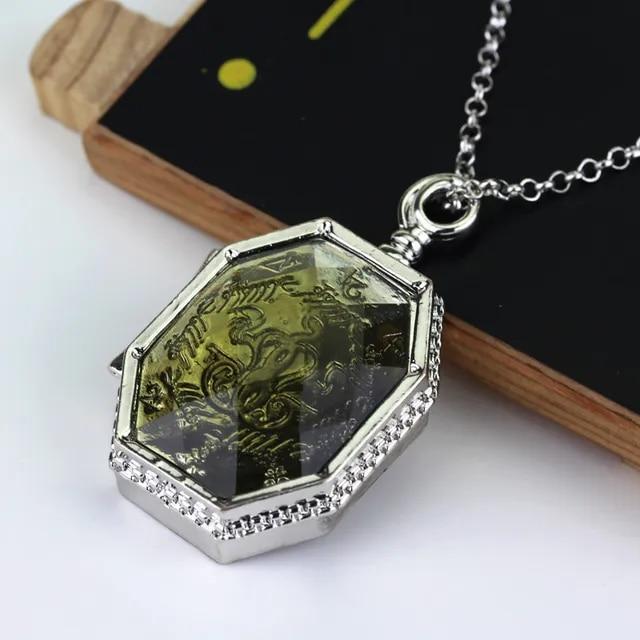 HP Slytherin Horcrux Necklace Women Men Slytherin Locket Necklace Pendant Movie Jewelry