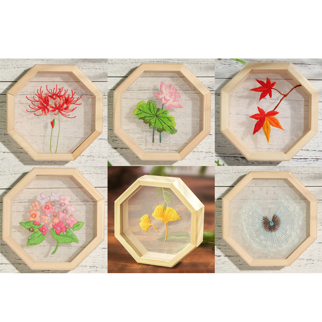 Flower Embroidery Kit Cross Stitch /& Wooden Hoop For Starter Sewing Organza