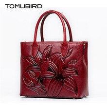 TOMUBIRD superior cowhide leather Designer Inspired Ladies Handmade Embossing flower Tote Handmade Leather Satchel Handbags