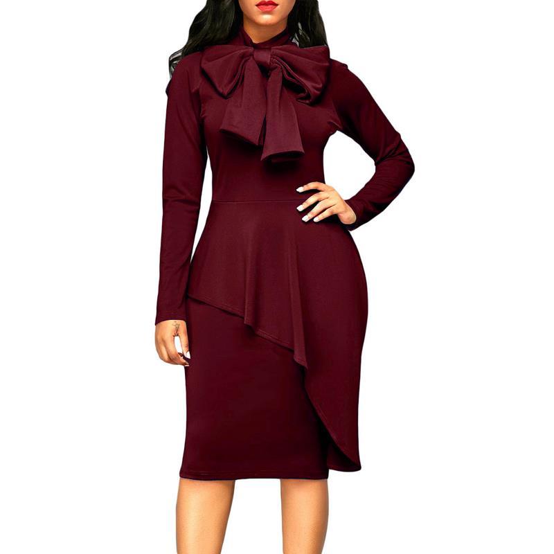 Dreszdi 2017 Sonbahar Zarif Yay Boyun Kadınlar Midi Parti Elbise Uzun Kollu Peplum Stil Vintage Bodycon Elbise