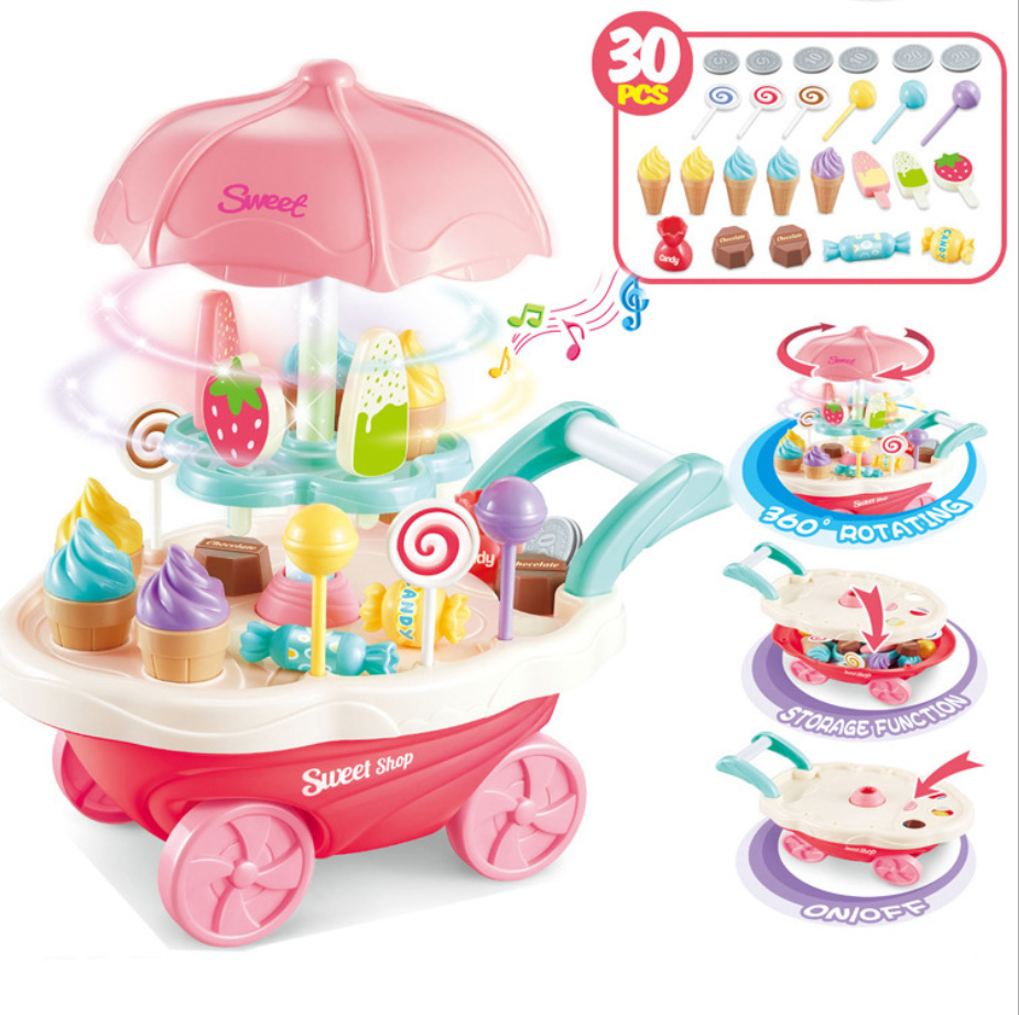 luxury 30 pcs Children s home simulation Mini Rotary light music candy cart ice cream trolley toy