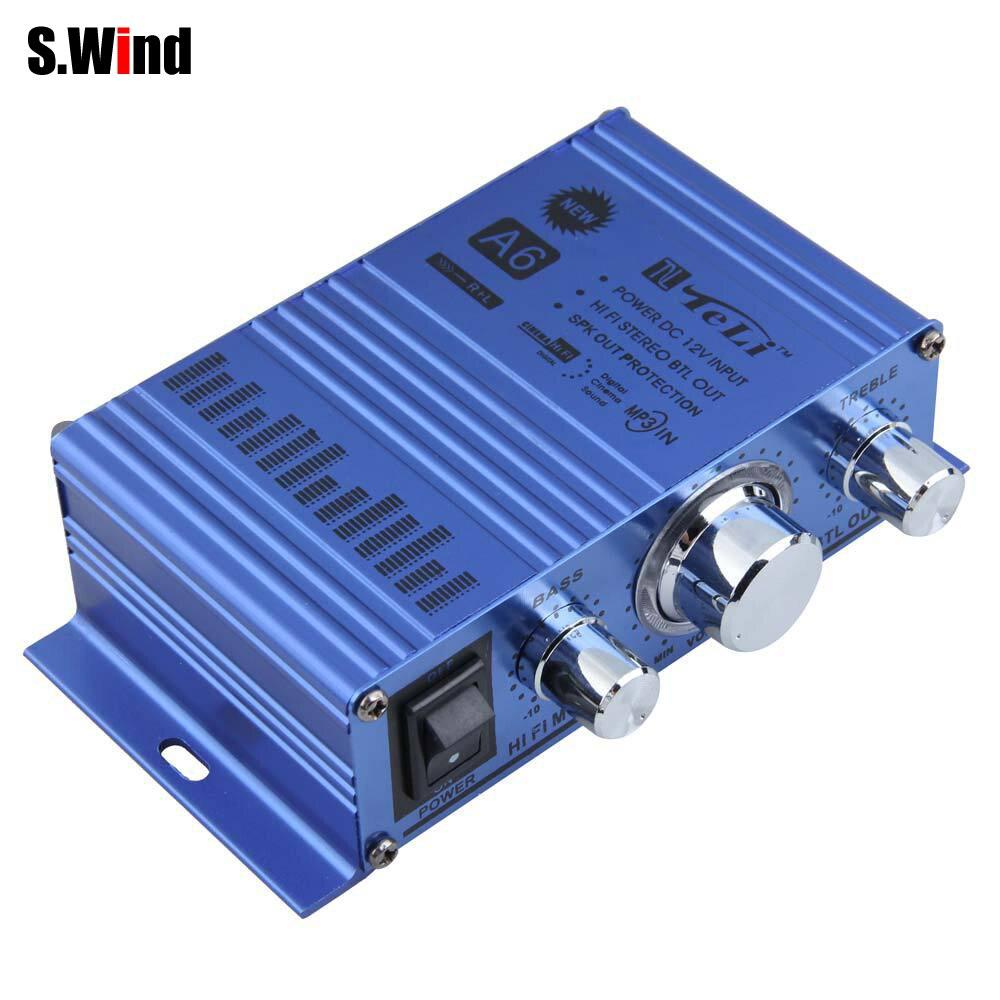 TELI-A6 Mini Hi-Fi Stereo Amplificador De Audio Mono Car Auto Motocicleta Home A
