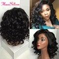 Bob Curly Full Lace Human Hair Short Wigs For Black Women With Baby Hair Virgin Brazilian Hair Short Lace Front Wigs Human Hair