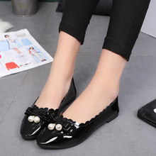 New 2016 Spring Sweet Bowtie Round Toe Female Shoes Pure Colors Beads Shallow Mouth Leisure Ladies Flats Big Size 35-40 ST221