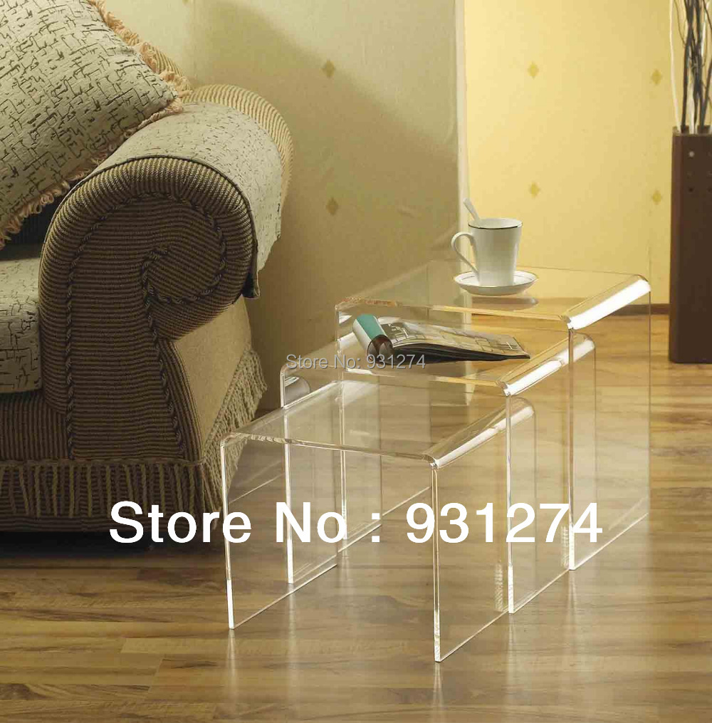 (3PCS/LOT) Lucite Acrylic Nesting Tables,Clear Side Coffee  U table one lux waterfall acrylic lucite lounge sofa table plexiglass waiting room magazine side coffee corner tables