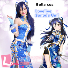 d39753c500dad1 Taille personnalisée Lovelive cheongsam Chinoiserie robe Sonoda Umi cosplay  costume uniforme Halloween Carnaval Anime Expro tenue