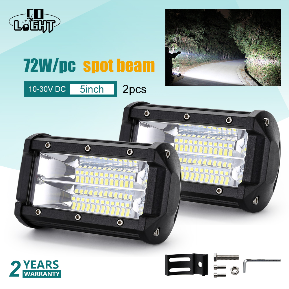 CO LIGHT 72W 5 inch Led Work Light 12V 24V Spot Flood 8000Lm for Auto Ford
