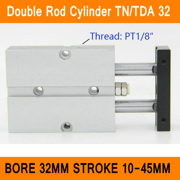 TN32 TDA Twin Spindle Air Cylinder Bore 32mm Stroke 10-45mm Dual Action Air Pneumatic Cylinders Double Action Pneumatic Parts tn32 40 airtac type tn tda series bore 32mm stroke 40mm double rod pneumatic air cylinder tn 32 40 tn32 40 tn 32 40 tn32x40