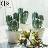 Genuine Dream House DH BS179258 Ceramic Potted Cactus Fairy Garden Miniatures Porcelain Cactus Craft Decoration Figurine
