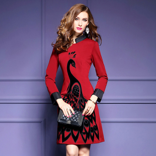 US $38.0 |Plus Size Embroidery Slim Stylish Embroidered Collar Vintage  Dress A line National Wind Autumn Dress Women Red Black Dress-in Dresses  from ...