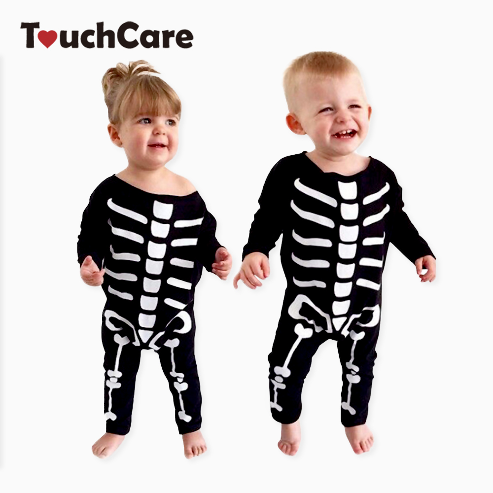 Clearance Newborn Baby Boy Girl Rompers Skeleton Print Black Color Baby Clothes Long Sleeve Infant Jumpsuit Baby Sliders Romper