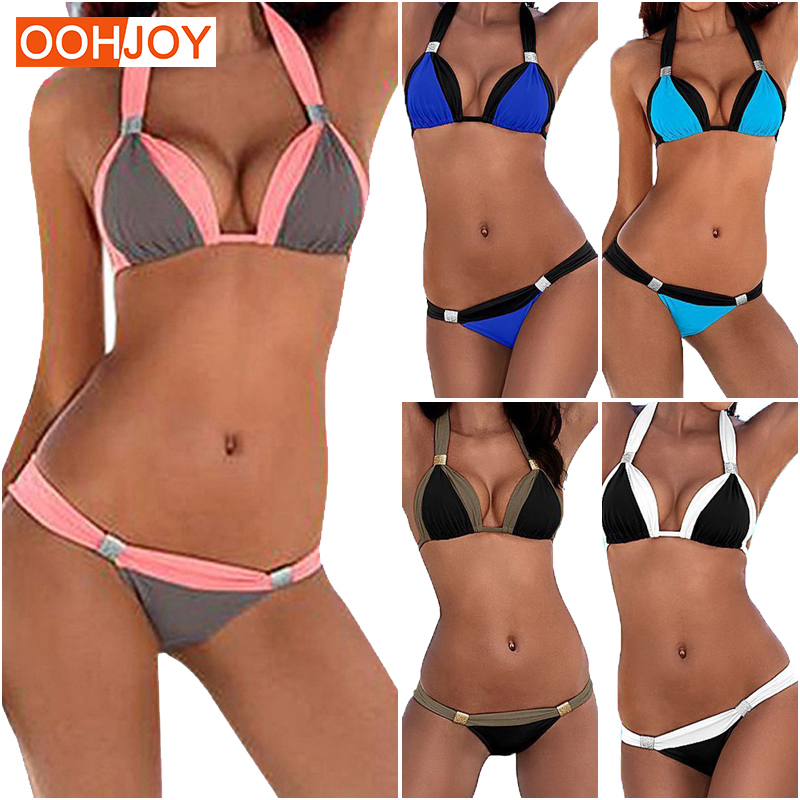 2017 New Sexy Bikini Women Swimwear Plus Size Swimsuit Girl Bikini Set Halter Push Up Low Waist Bathing Suit Tankini Beach Wear lasperal sexy women bikini set 2018 new retro floral print swimsuit vintage swimwear high waist push up beach wear bathing suit