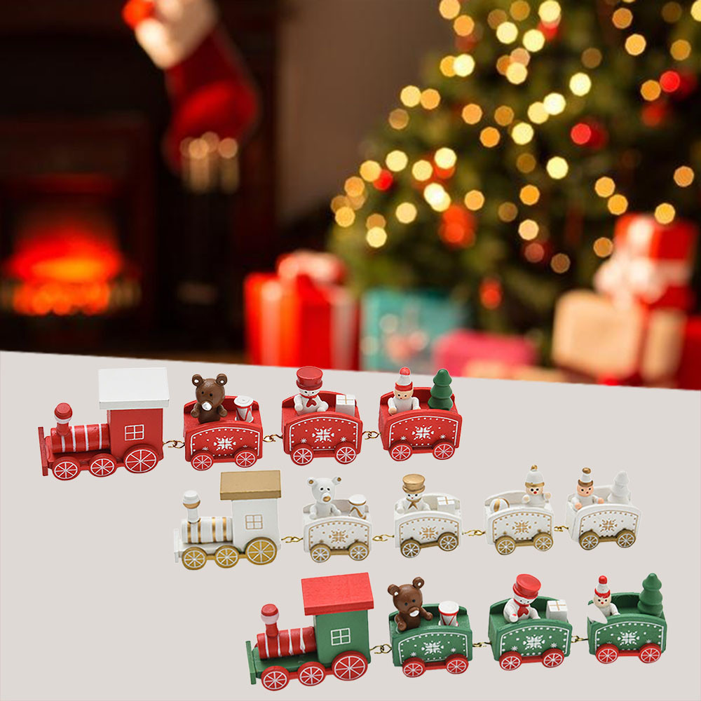 Christmas Train.Us 1 45 41 Off 4 Pieces Wood Christmas Xmas Train Decoration Decor Gift Mini Christmas Train Wooden Train Model Vehicle Toys For Chidlren In Pendant