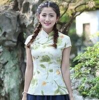 New Style Flower Feminina Camisa Women S Summer Cotton Linen Blouse Novelty Button Short Sleeve Shirt